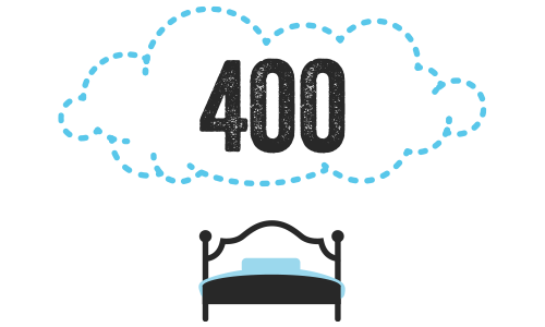 Illustration of a bed with a cloud over it, displaying the number 400.