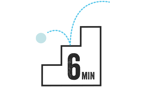 Illustration of a ball bouncing down stairs. 6 mins.